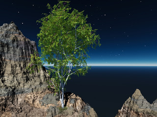 3D Render - Tree and Cliff
