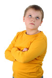 Boy thinking about something with arms crossed isolated on white