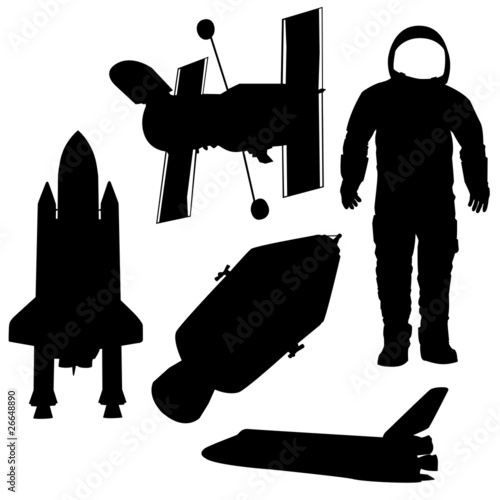 astronaut and shuttel vector