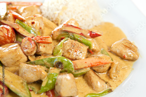 Healthy and nutritious rice with chicken curry