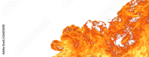 Big fire isolated on white background