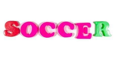 soccer written in fridge magnets