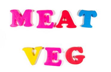 meat and veg written in fridge magnets