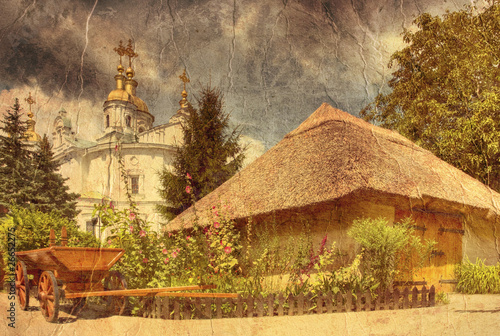 typical ukrainian courtyard - picture in artistic retro style