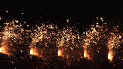 Five columns of  fireworks at night