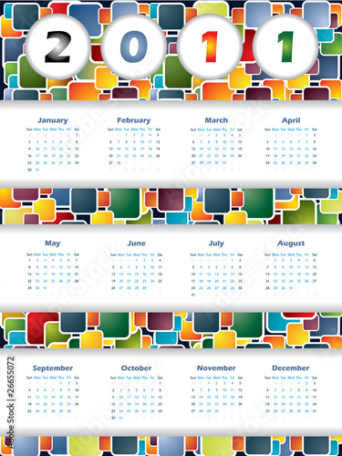 Colorful 2011 calendar