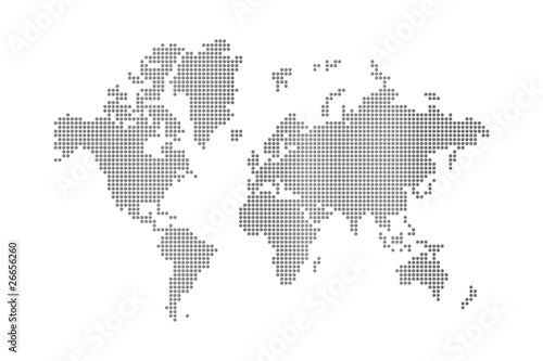 Aluminium Wereldkaart dots world map