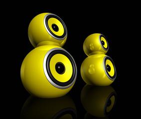 yellow speaker balls