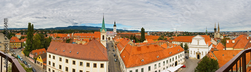 panoramic view of core city of Zagreb, Croatia