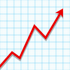 Graph paper with profit loss chart