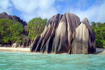 Boulders on the beach, La Digue, Seychelles