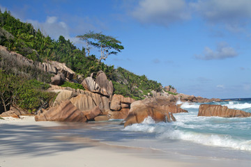 Evening picture of empty beach, La Digue, Seychelles