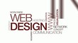 Web design tag cloud animation red and white background