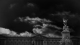 Animation of Buckingham Palace under a dark sky