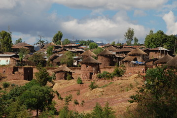 rural landscape with houses of clay in Africa