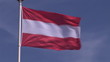 Flag of Austria on the top of a pole in the wind