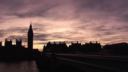 London's landmarks at sunset