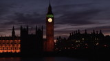 View from a bridge of Big Ben by night