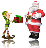 santa and elf cartoon passing the present