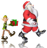 santa and elf cartoon walking