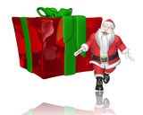 santa cartoon big present for you