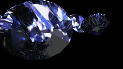 3d sparkling diamonds falling into a black space