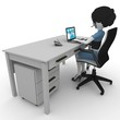 3d girl working in the office