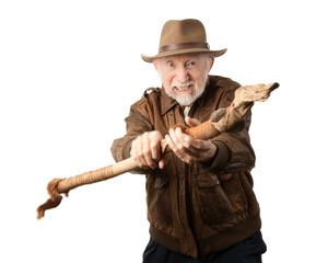 Adventurer or archaeologist defending himself