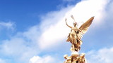 Animation of an angel statues with blue sky in slow motion