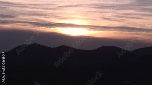 Panoramic view of a beautiful mountains at sunset