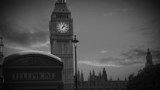 Black and white animation of Big Ben with slow motion sky