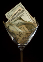 Dollars In Martini Glass