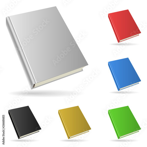 Hardcover book isolated on white background.