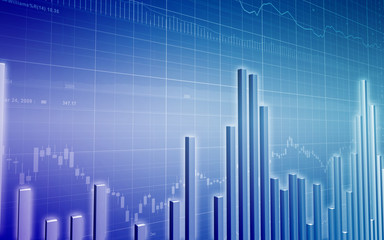 Stock Market Graph with Glowing Bar Chart