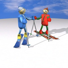 Mountain skiers stand on mountain skiing and talk