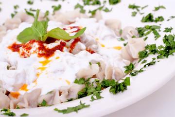 Turkish style delicious manti tatar borek
