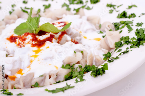 Turkish style delicious manti tatar borek