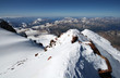 Snow rocks in high mountains from peak Elbrus, Caucasus