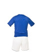 Blue football shirt with white shorts