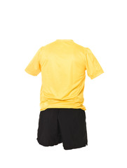 Yellow football shirt with black shorts