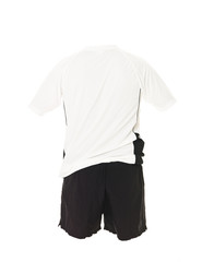 White football shirt with black shorts