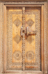 Beautifully carved traditional ancient door