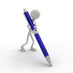 Figur mit Kugelschreiber blau