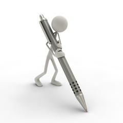 Figur mit Kugelschreiber grau
