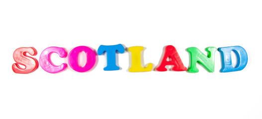 scotland written in fridge magnets