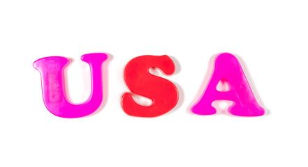 usa written in fridge magnets