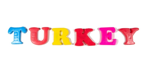 turkey written in fridge magnets