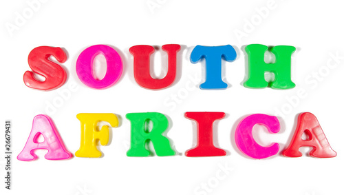south africa written in fridge magnets