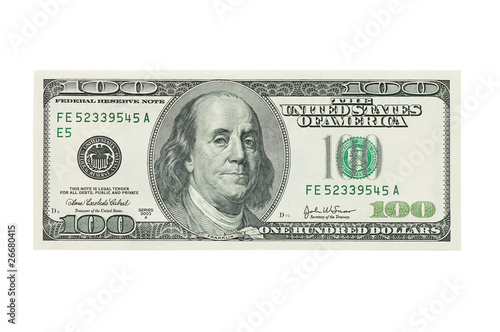 hundred dollar banknote,isolated on white