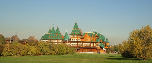 Wooden palace in Kolomenskoe (panorama). Moscow, Russia